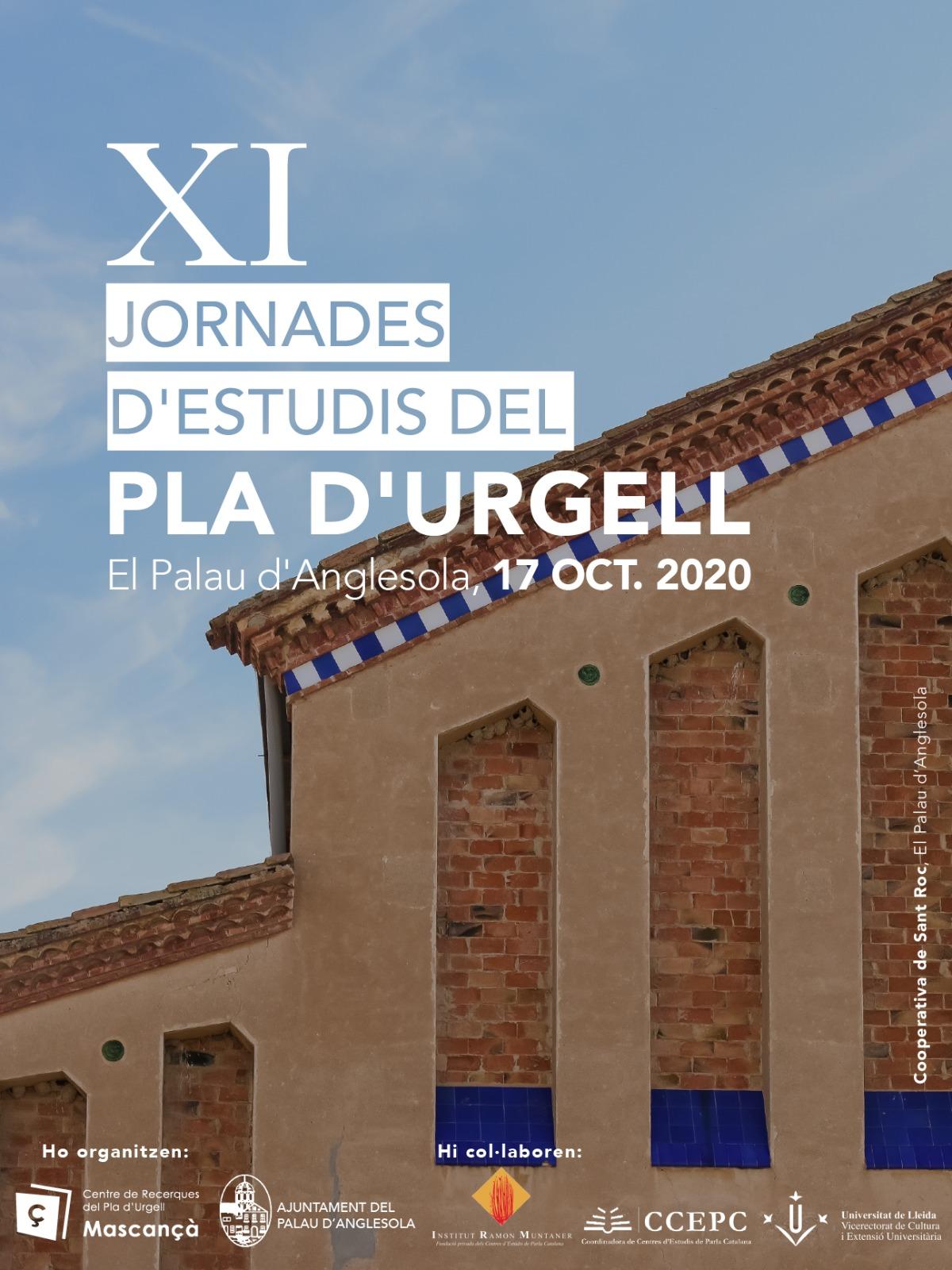 Cartell XI Jornades d'Estudis del Pla d'Urgell al Palau d'Anglesola