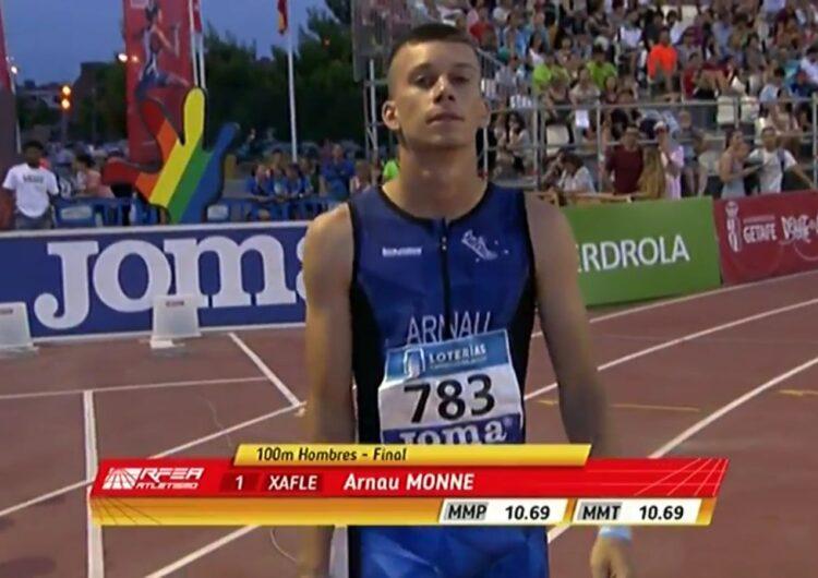 L'atleta del Xafatolls, Arnau Monné, aconsegueix la vuitena posició en la prova de 100 metres llisos al Campionat d'Espanya Absolut