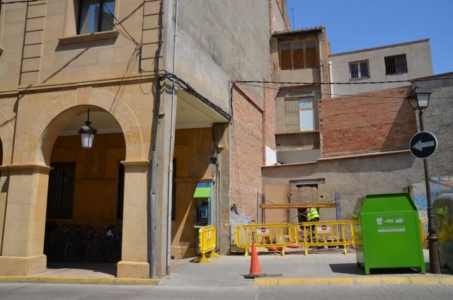 Zona de la plaça on es farà l'aparcament de bicicletes (Autor: Aj. Mollerussa)