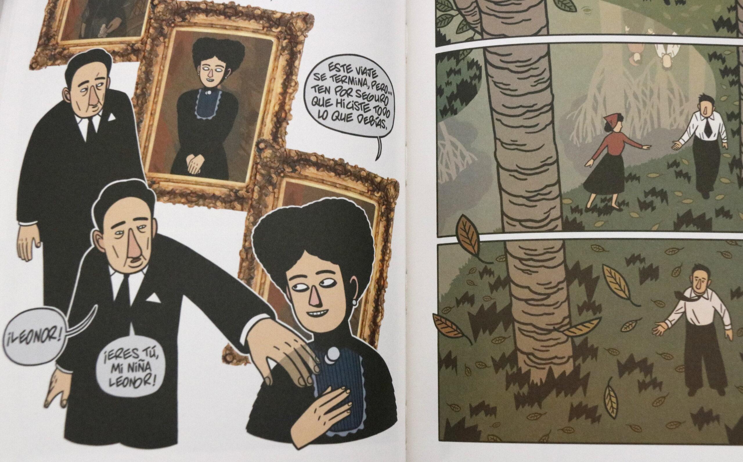 Pla curt d'una pàgina del còmic del tres darrers anys de la vida d'Antonio Machado, l'11 d'abril de 2019. (Horitzontal)