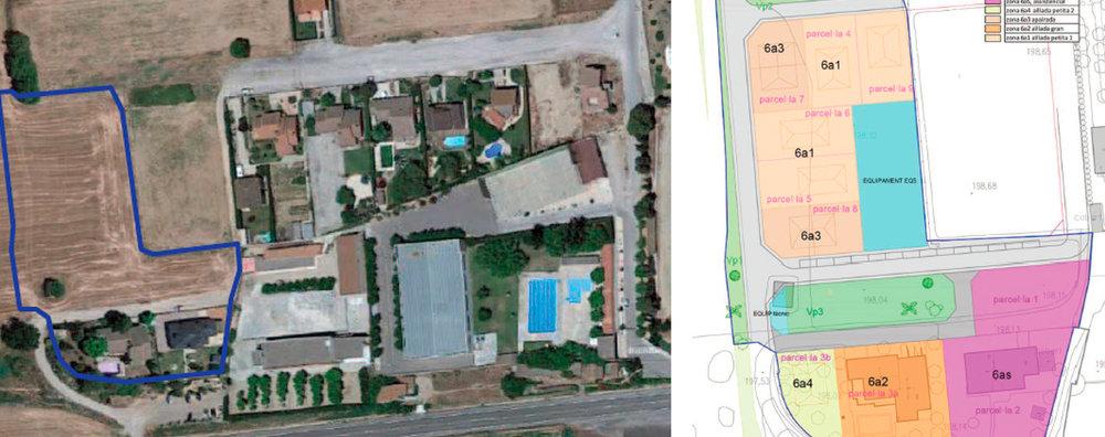 A l'esquerra, vista aèria actual de l'àmbit, amb la residència a baix a la dreta. A la dreta, la proposta, amb la superfície de la residència en rosa. Imatge del 17 de juliol de 2019. (Horitzontal)
