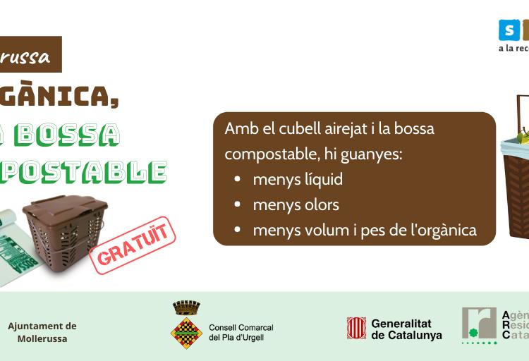 El Consell Comarcal del Pla d'Urgell inicia el lliurament gratuït de bosses compostables i cubells per a l'orgànica