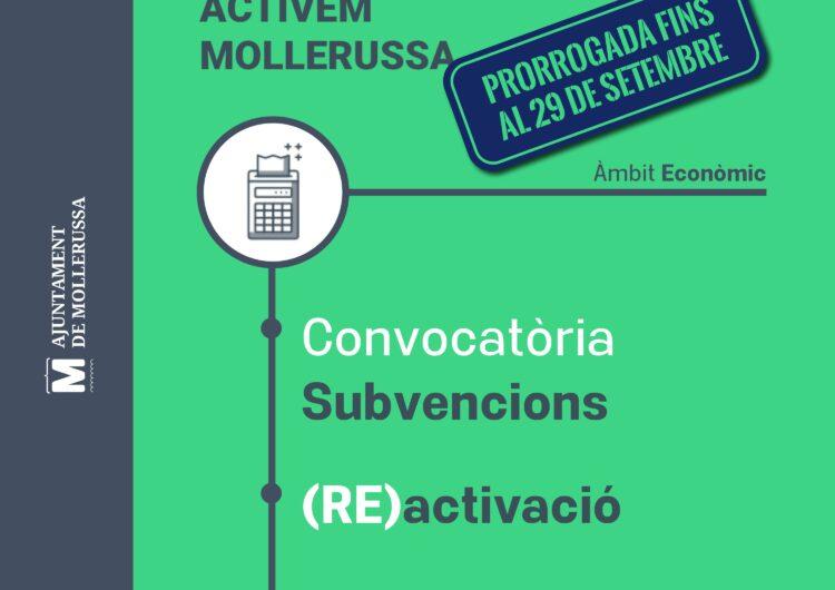 Mollerussa prorroga fins al 29 de setembre el termini per demanar ajuts per a la reactivació econòmica